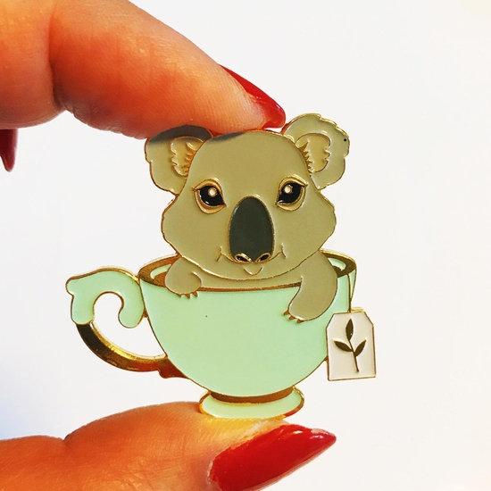 Koala Tea soft enamel pin