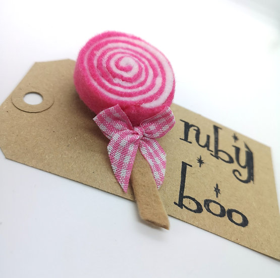 Swirly Lollipop Brooch - Pink & White