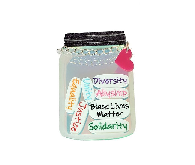 Jar of Notes Brooch - Black Lives Matter