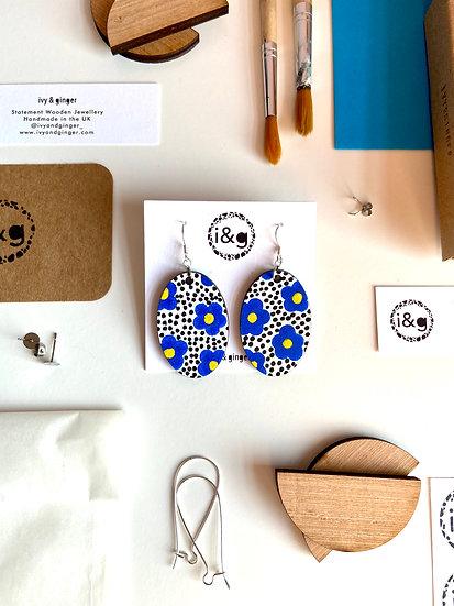 Blue Floral Oval Wooden Earrings