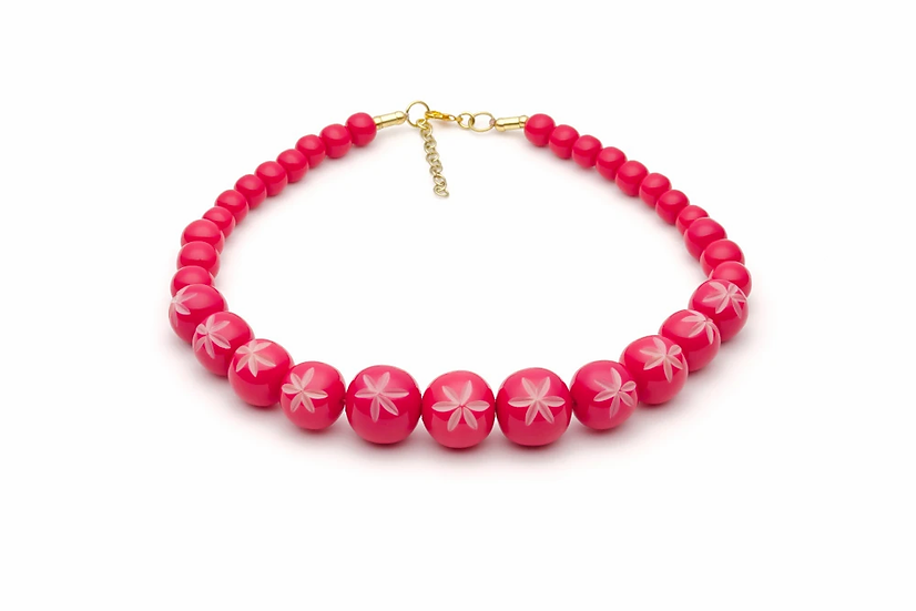 Raspberry Carved Bead Necklace