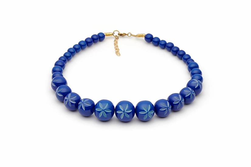 Cornflower Carved Bead Necklace