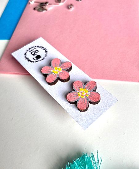 Pink Daisy Stud Earrings