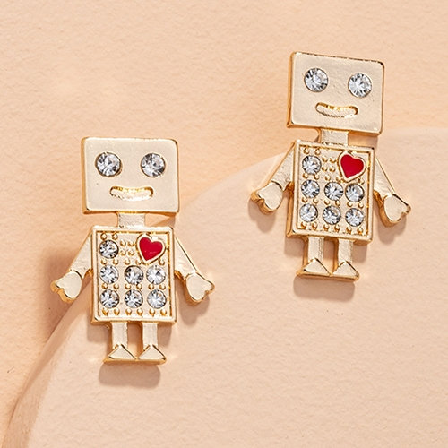 Xia Robot Love Earrings with Swarovski crystals
