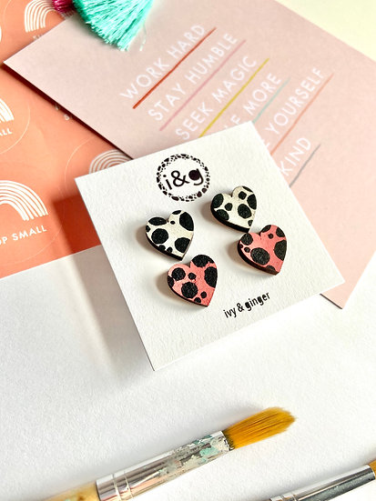 Mini Dalmation Hearts Earrings Set