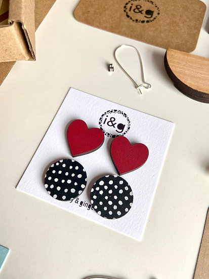 Heart and Polka Dot Stud Earrings Set