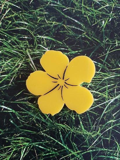 Andy Warhol inspired Floral Brooch in Lemon