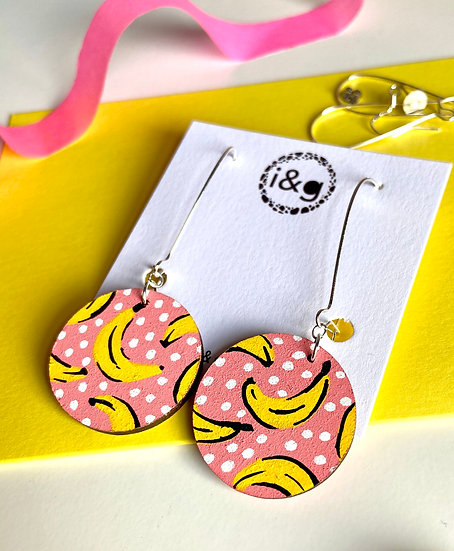 Pink Banana Earrings