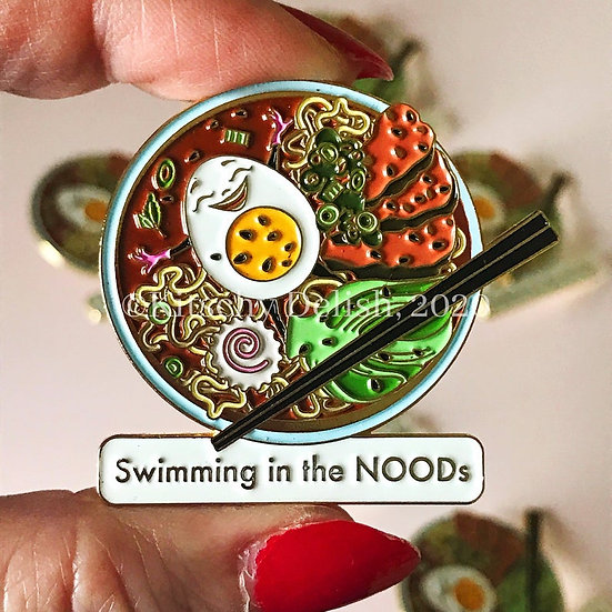 Swimming in the NOODs emamel pin