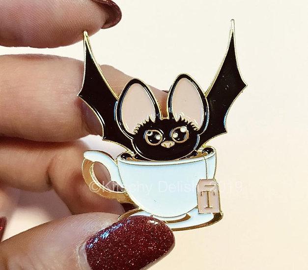 Bat Tea soft enamel pin