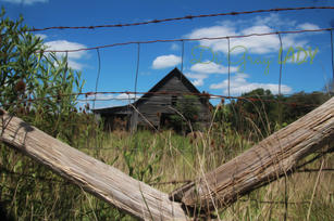 Barn behind the fence