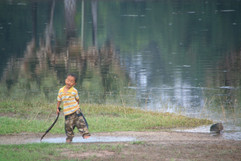Cambodia Boy Bathing