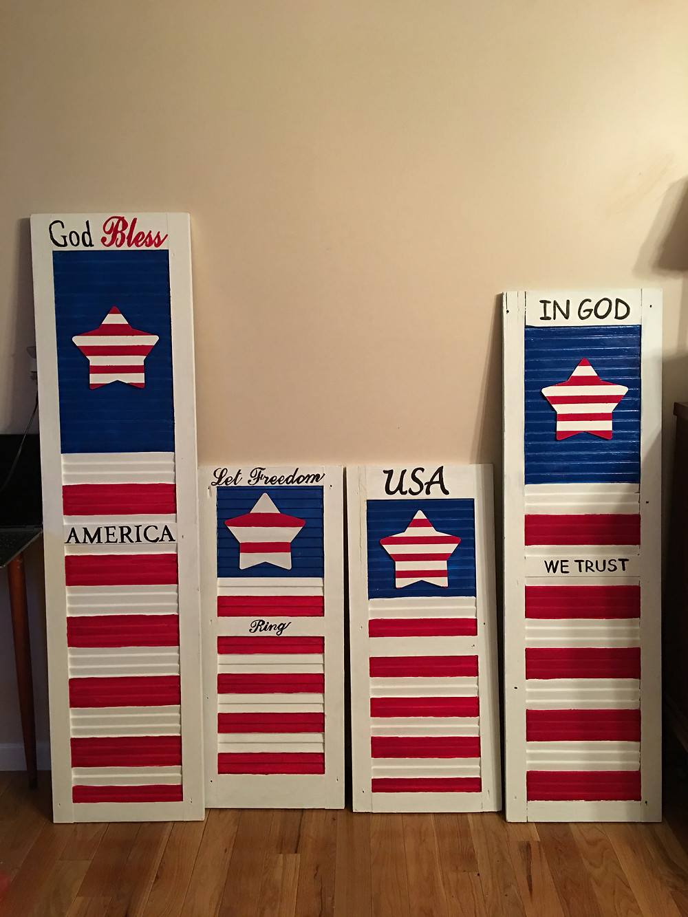 """Double Sided Shutters """"4th of July """" on other side"""