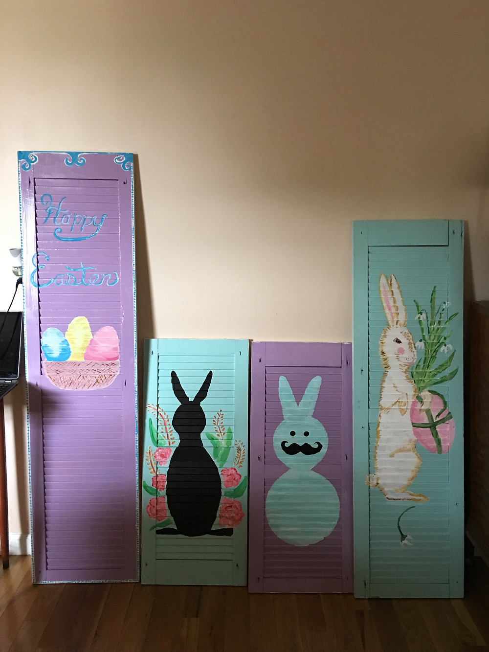 """Double Sided Shutters """"Easter"""" on one side"""