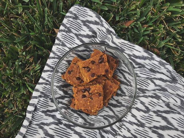 Pumpkin Chocolate Chip Bars - Vegan + Gluten Free