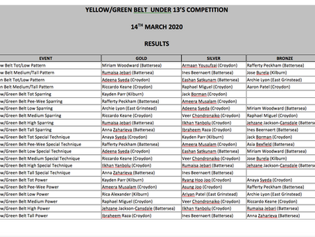 Under 13s Yellow-Green Belt Mini-competition, 14/3/2020