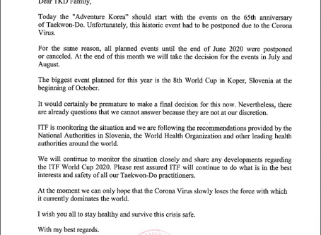 Letter from GM Weiler regarding Slovenia World Cup 2020