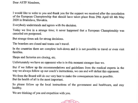 Letter from AETF Acting President in regard to COVID-19 outbreak