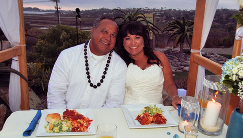 Wedding couple Discovery Center patio