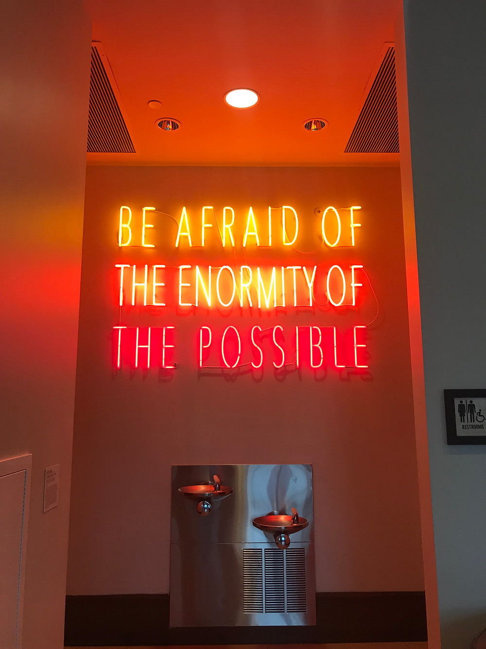 "Art installation in the Alfond Inn at Rollins College: ""Be Afraid of the Enormity of the Possible"" by Alfredo Jaar"
