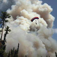 Smokejumper Over Alaska Wildfire