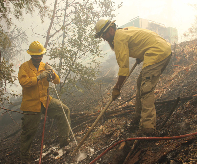 wildland firefighters engine crew members mop up hotspots with a hand tools