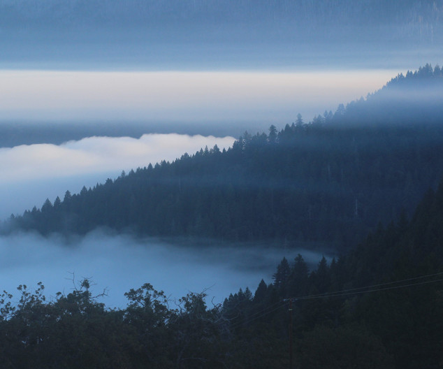 Inversion layer of smoke and fog in Ruth valley