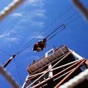 View beneath the safety net at the La Grande jump tower