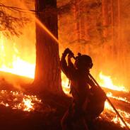 wildland firefighter hotshot crew member sprays fire with hose