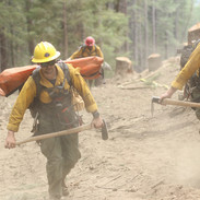 wildland firefighters rapid extraction module REM medics hike the fireline