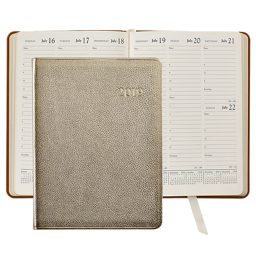 2019 Graphic Image Desk Diary White Gold Metallic-Leather