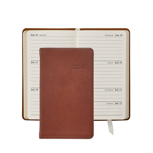 "Graphic Image 2019 5"" Pocket Datebook Brown Traditional Leather"