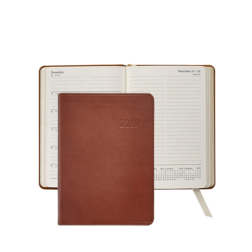 2019 Graphic Image Weekly Notebook Brown Traditional Leather