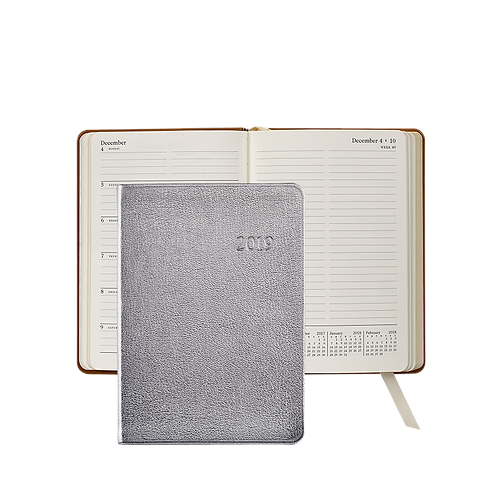 2019 Graphic Image Weekly Notebook Silver Metallic Leather