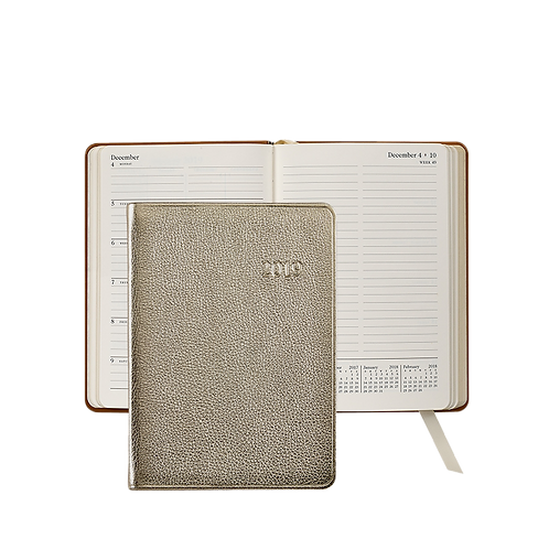2019 Graphic Image Weekly Notebook White Gold Metallic Leather