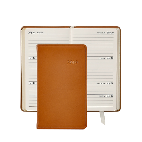 "Graphic Image 2019 5"" Pocket Datebook British Tan Traditional Leather"
