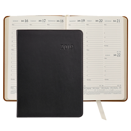 2019 Graphic Image Desk Diary Black Traditional Leather