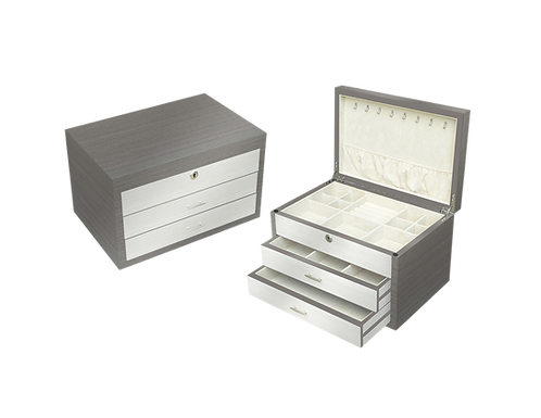 Tizo Lacquered Grey and White Wood Jewelry Box