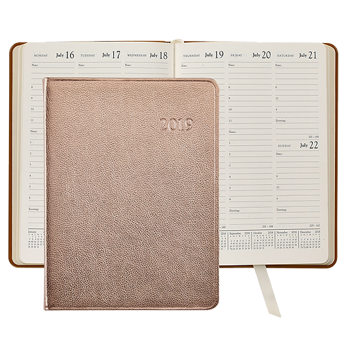 2019 Graphic Image Desk Diary Rose Gold Metallic Leather