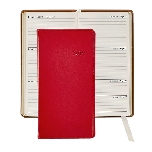 "2019 Graphic Image 6"" Pocket Datebook Red Traditional Leather"