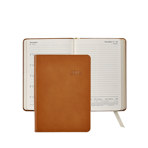 2019 Graphic Image Weekly Notebook British Tan Traditional Leather