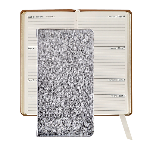 "2019 Graphic Image 6"" Pocket Datebook Silver Metallic Leather"