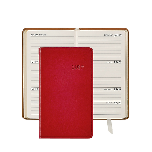 "Graphic Image 2019 5"" Pocket Datebook Red Traditional Leather"