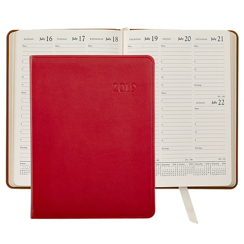2019 Graphic Image Desk Diary Red Traditional Leather