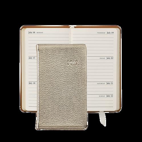 "Graphic Image 2019 5"" Pocket Datebook White Gold Metallic Leather"