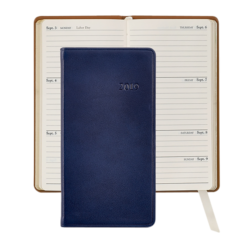 "2019 Graphic Image 6"" Pocket Datebook Blue Traditional Leather"
