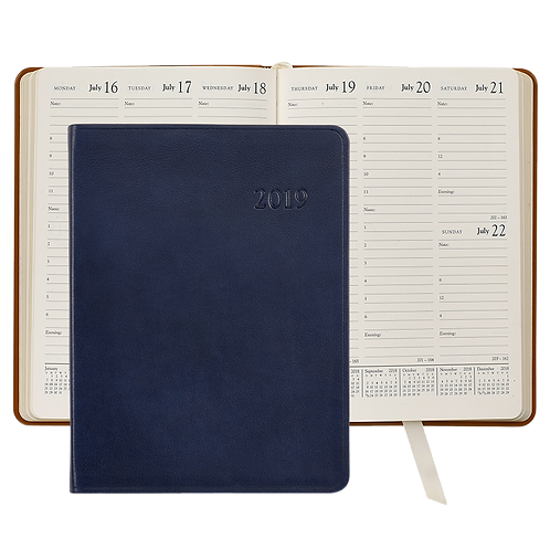 2019 Graphic Image Desk Diary Blue Traditional Leather