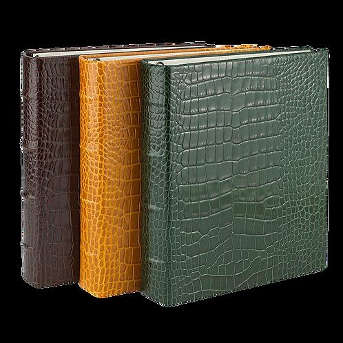 Medium Clear Pocket Album Crocodile Embossed Leather