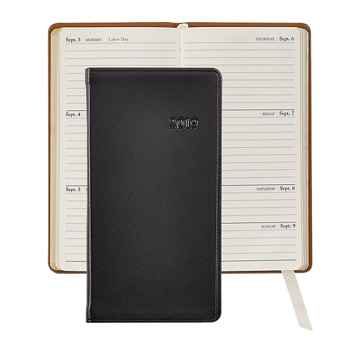 """2019 Graphic Image 6"""" Pocket Datebook Black Traditional Leather"""