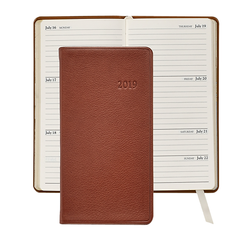 """2019 Graphic Image 6"""" Pocket Datebook Brown Traditional Leather"""